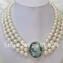 Самые низкие Стильные Классические 3 ряда 7-8 мм Камея belle застежка жемчужное ожерелье жемчужные ювелирные изделия Модные ювелирные изделия