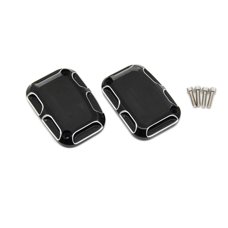 Left and Right Front Brake Reservoir Cylinder Cover Cap Black And Cast Chrome Aluminium CNC For Harley Road King gliding 08-15