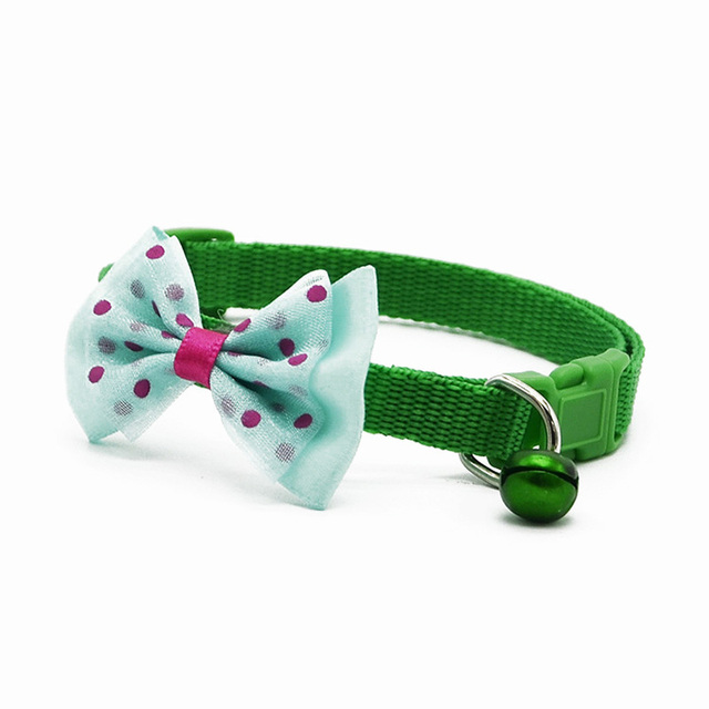 Adjustable Polyester Dog Collars Pet Collars With Bowknot Bells Charm Necklace Collar For Little Dogs Cat Collars Pet Supplies 2