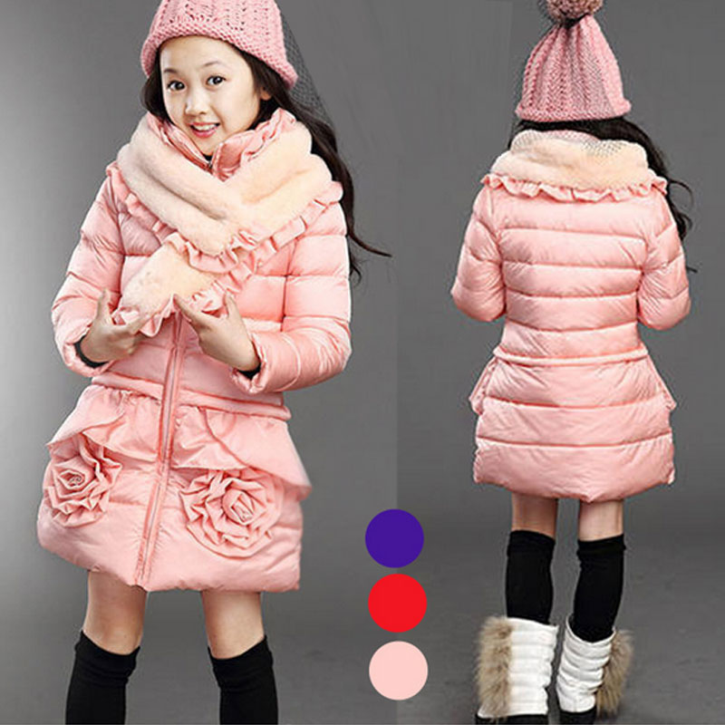 Girls han edition thickening cotton-padded clothes children quilted jacket big child dress down cotton-padded jacket