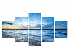 5 Pieces Free Shipping lake sun decoration stones seascape wall art landscape dark blue sky Canvas Painting living room Framed брюки sky lake sky lake mp002xb0079t