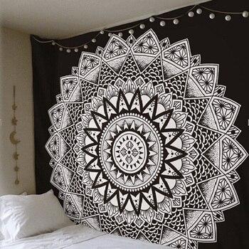 Гобелен с изображением мандалы, индийский декоративный настенный ковер с цветочным рисунком в стиле бохо, декоративный гобелен с цветным п...