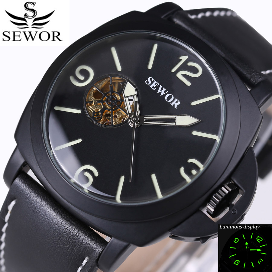 Luxury Brand Watches Men Wristwatch Military Watch Automatic Mechanical Watches Super luminous dial Leather Straps relogio