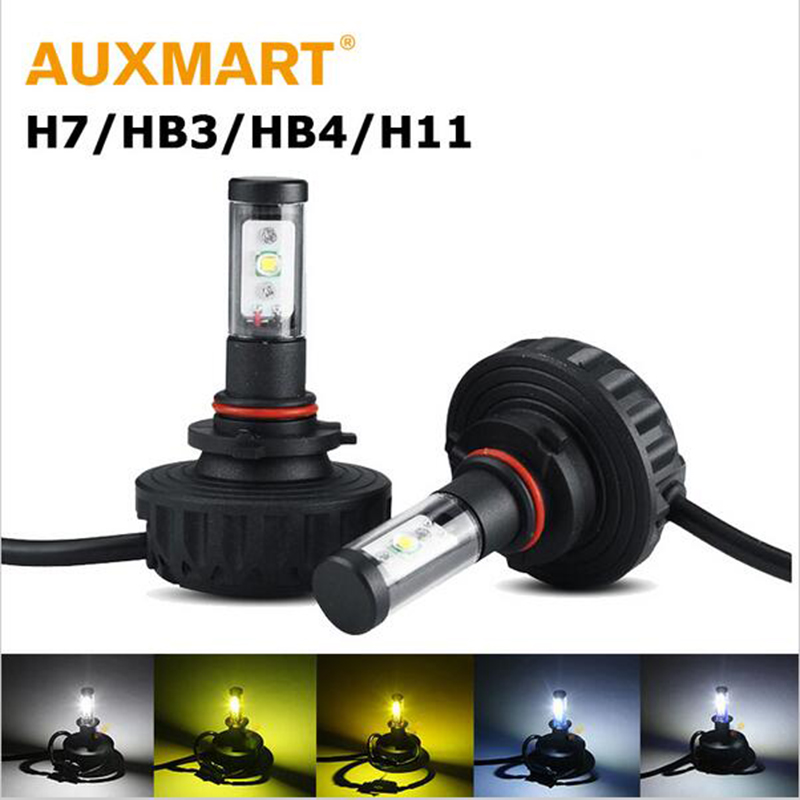 ФОТО 60w/pair H4 H13 Hi-lo Beam 6000lm LED Headlight Bulb H3 H11 9005 9006 6500K LED Bulb for Lada Granta Hyundai Solaris Kia Rio 12V