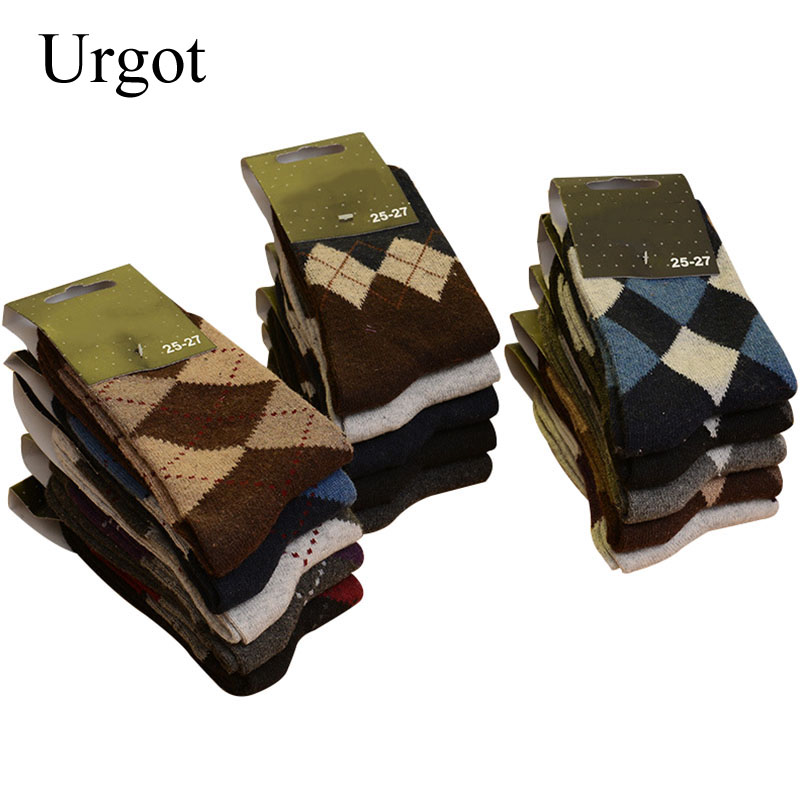 Urgot 5 Pairs Men's Wool Socks Winter Thicken Warm Terry Socks Male Business Casual Thermal Cotton Socks Men Comfort Calcetines