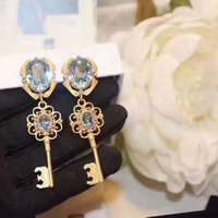 Fashion High Quality Double Ellipsoidal light blue Crystal Stud Earrings Size Key Ear Clip For Women