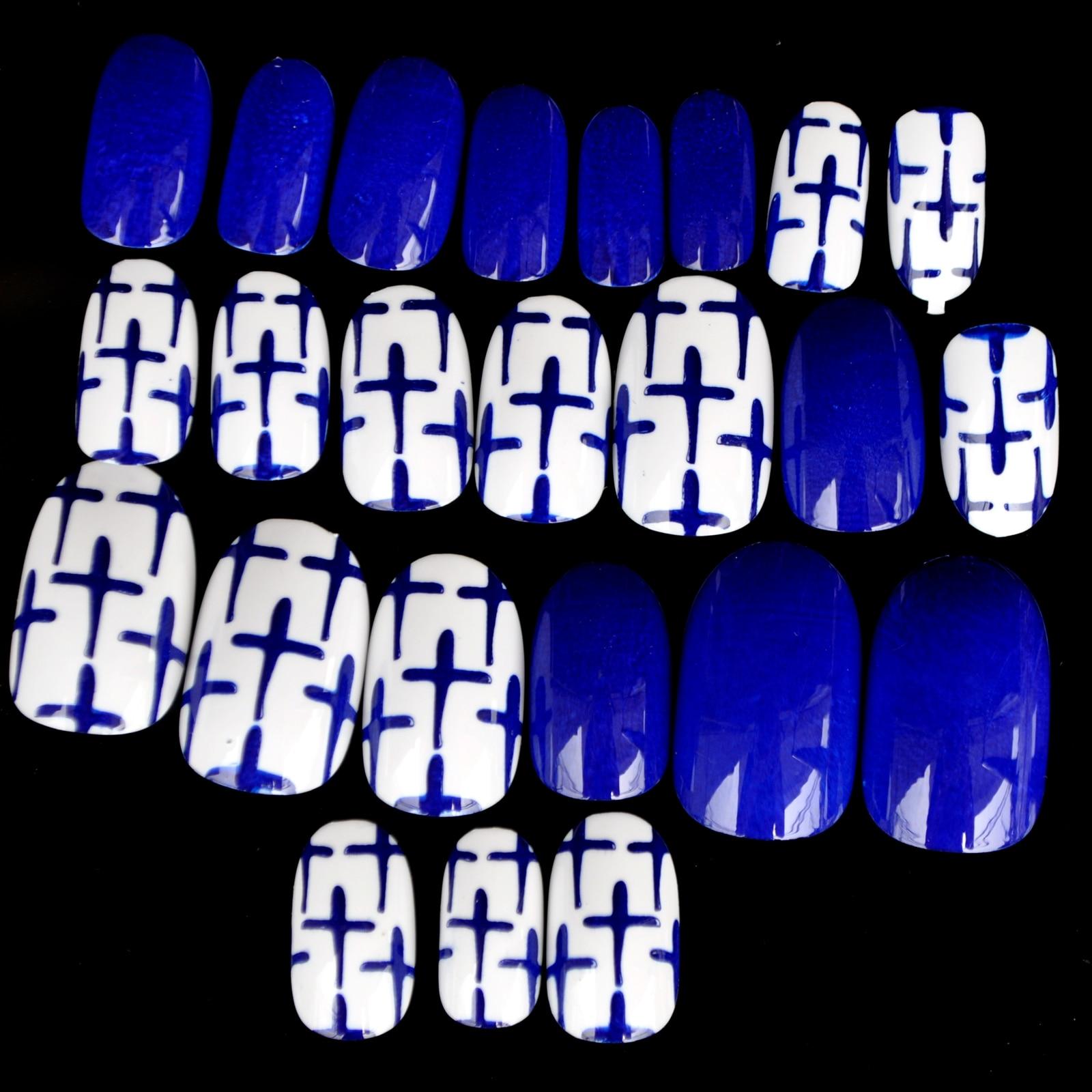 Diamond Blue Press On Nails Crossing Design White Round Acrylic Designed Nail Tips Shiny 24pcs/ kit Z901