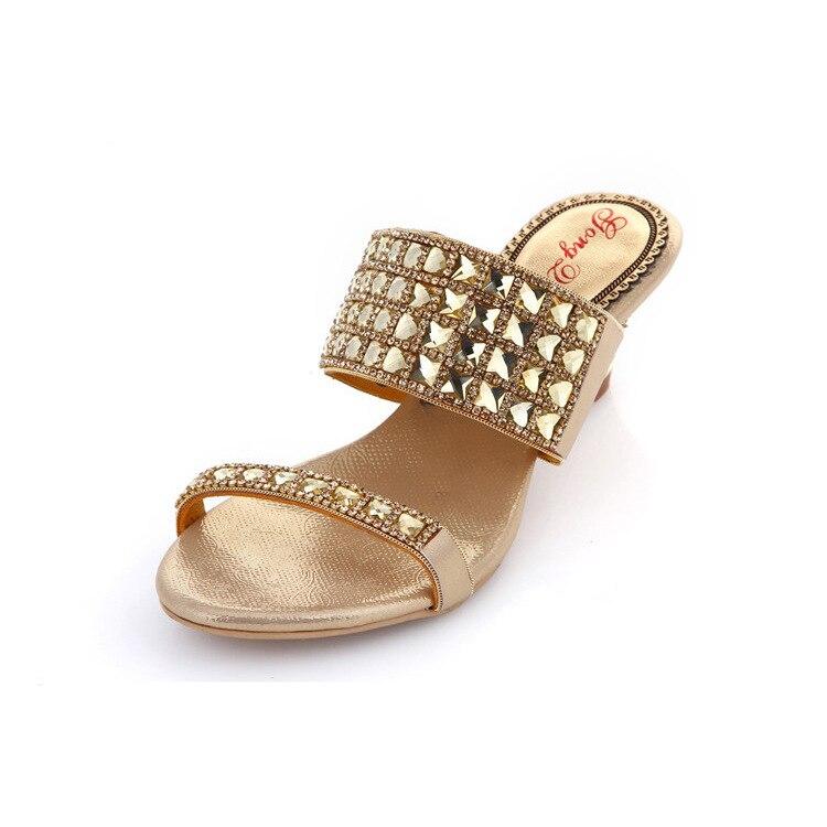 G-SPARROW 2017 Summer Women's Casual Shoes On Sale Diamond Slippers Black Gold Silver High Heel Sandals Wedding карабин black diamond black diamond rocklock twistlock