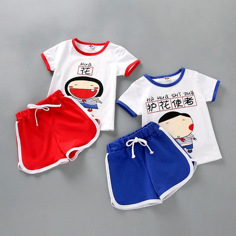 Age2-7T для маленьких мальчиков Одежда для девочек 2 предмета; футболка с длинным рукавом Штаны и футболки Милая одежда с мультяшными рисунками...
