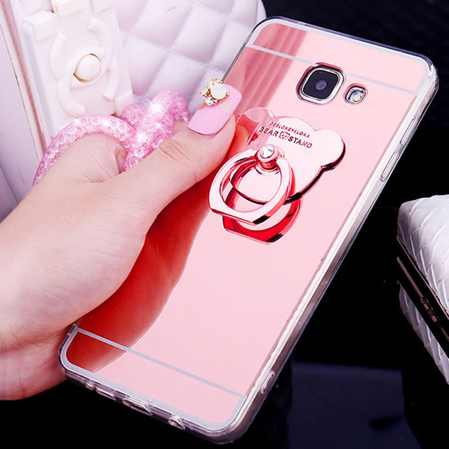 Sang trọng Gương Đứng Chủ Mạ TPU Case Cho Samsung Note 8 S9 S8 Cộng Với S7 S6 Cạnh Cộng Với S5 J3 J5 J7 A3 A5 A7 2016 2017 Bìa