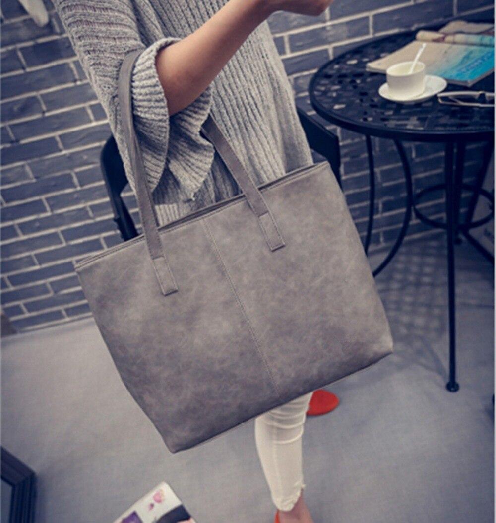MIWIND 2017 autumn winter fashion formal women's  vintage handbag brief one shoulder big bags gray /black large capacity bag