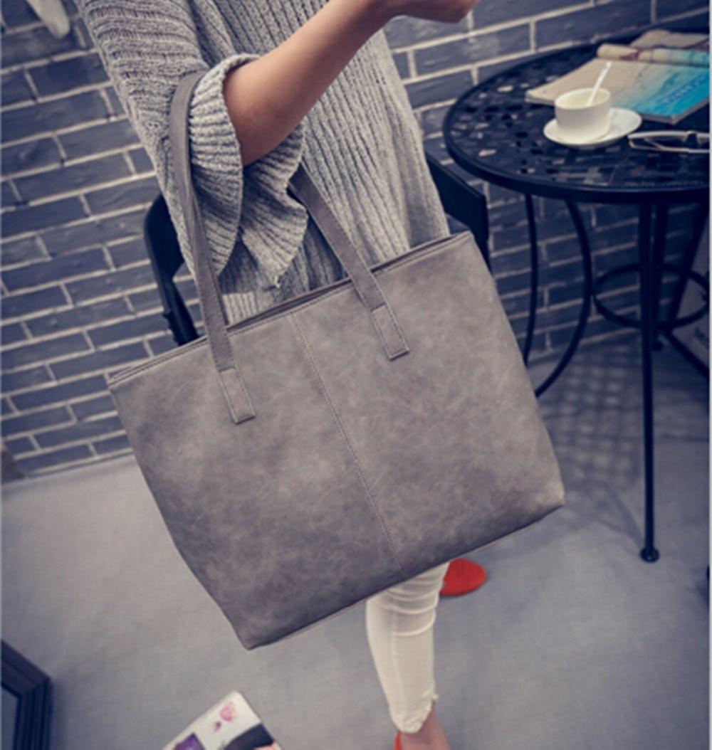 2017 fashion formal women&#8217;s vintage handbag brief one shoulder <font><b>big</b></font> bags female gray /black large capacity bag