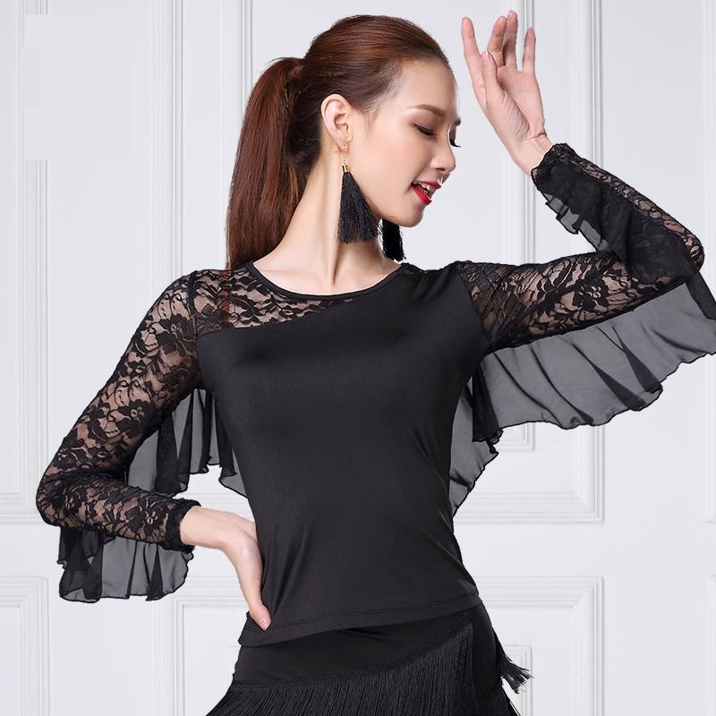 Sexy Lace Latin Dancing Shirt Women Ballroom Modern Salsa Tango Costume Tops Long Sleeve Latin Training Shirts Female Dancewear