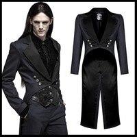PUNK RAVE Gentleman Punk Mid length Victorian Coat Men Gothic Fashion Handsome Vintage Men Dovetail Evening Party Jacket Trench