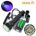 18W Underwater Diving diver Flashlight Torch UV LED Light Lamp Waterproof + 18650 26650 Rechargeable battery Purple Light 390nm