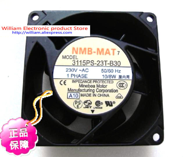 New Original NMB 3115PS-23T-B30 AC220V 10/8W  80*38MM Cooling fan new original 3115ps 23t b30 230v 8 10w 8038 aluminum frame axial fan