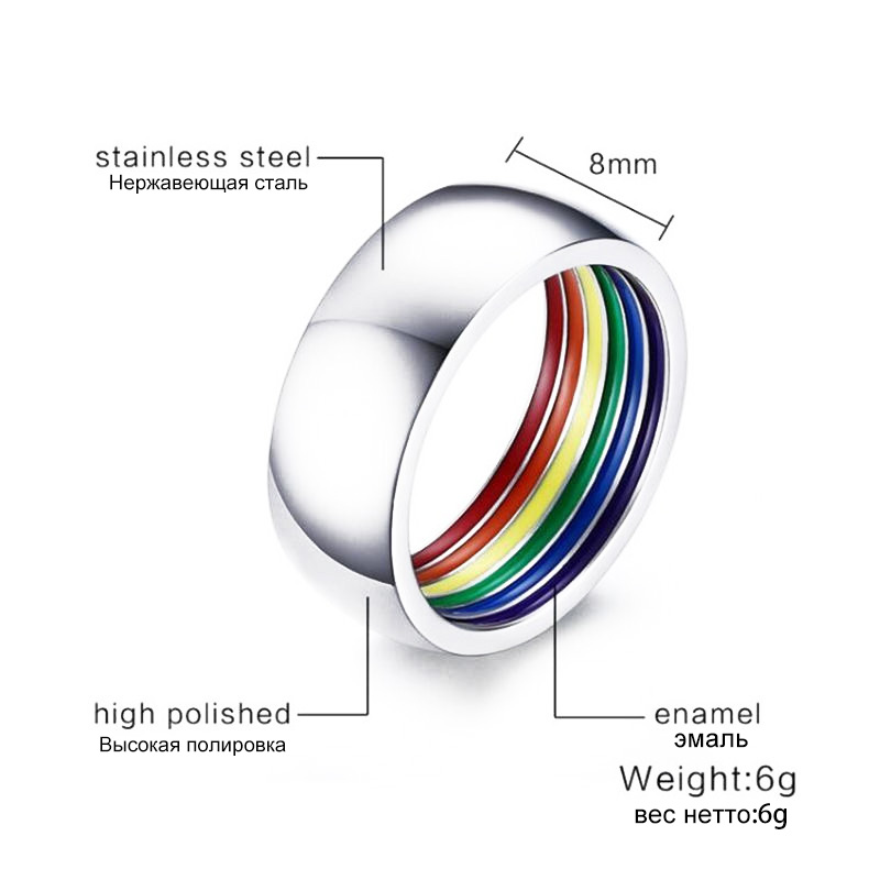 Ranzwal 316L Stainless Steel Rings for Women Men Inner Enamel Rainbow Ring LGBT Jewelry US SIZE 7~12 MRI052
