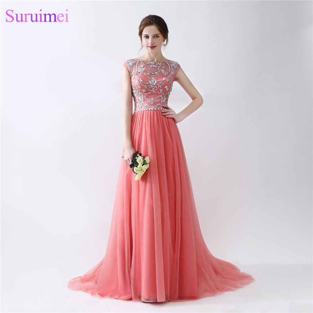 Cap Sleeve Beaded Evening Dresses With Short Sleeves Top Illusion See Through Coral Evening Dresses Formal Evening Gown Women