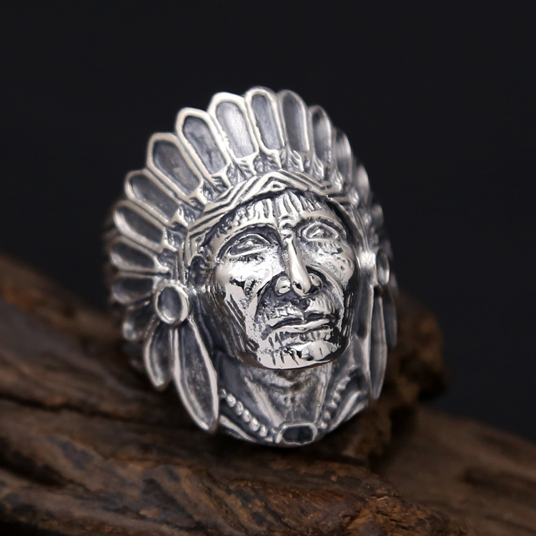 Indian Chief Head Wide Band Ring Men 100% Solid 925 Sterling Silver Vintage Punk Style Handmade Antique Silver 925 Mens Jewelry цена
