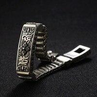 FNJ 925 Серебряный Будда браслет Ом Мани Падме Хум 20,5 см провод кабель цепь тайский S925 серебро Браслеты для для мужчин ювелирные изделия