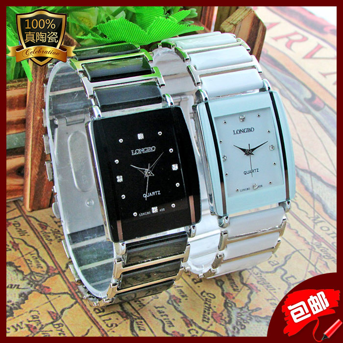 Fashion LONGBO Brand Diamonds Elegant Men Ladies Dress Wristwatches Analog Quartz Ceramic Steel Square Clock Couple Lover Watch