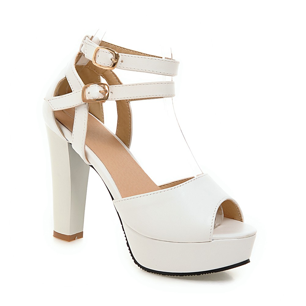 peep toe ankle sweet thick high heel sandals