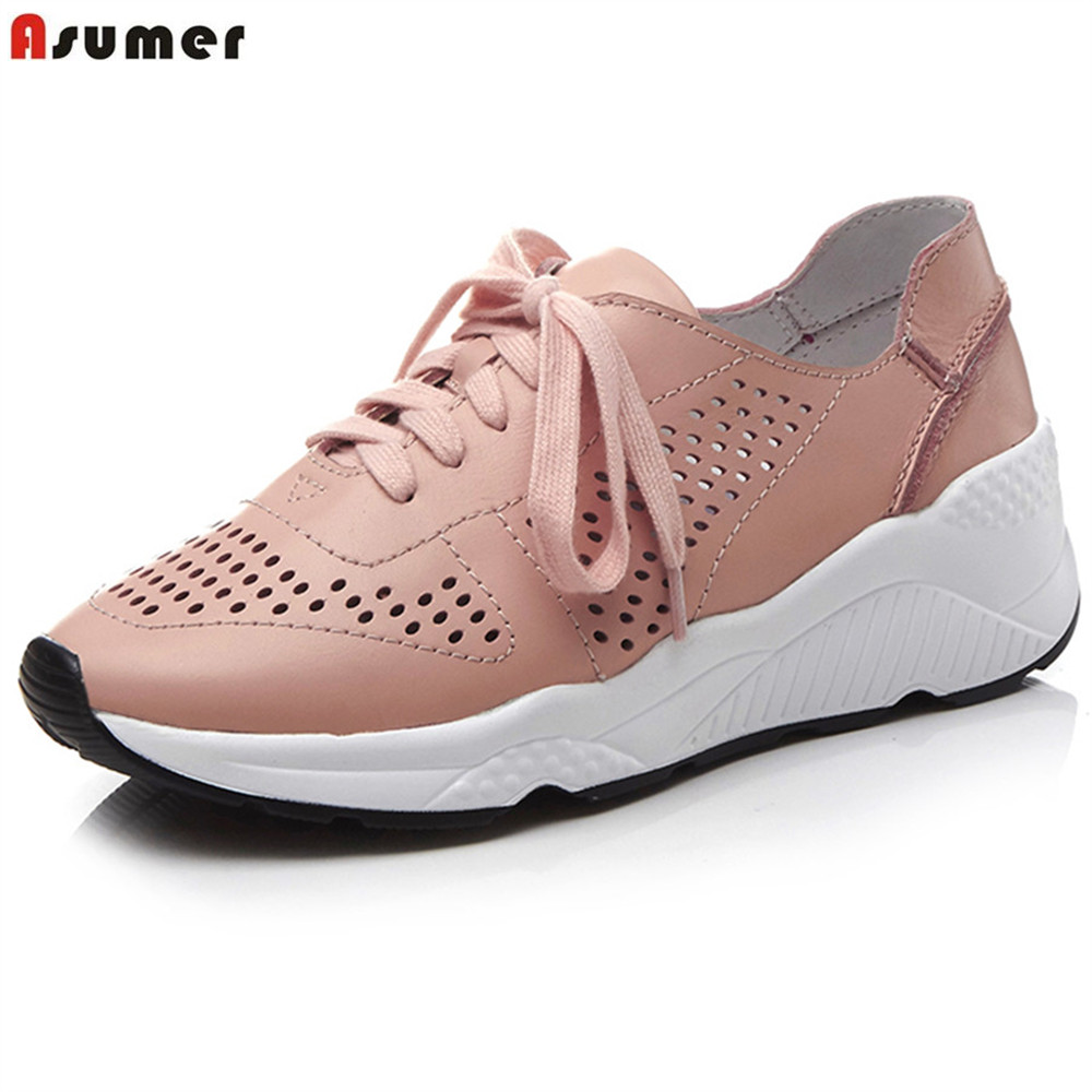 ASUMER fashion  new women spring autumn shoes casual sneakers Natural genuine Leather flats shoes lace up ladies single shoes 2015 hot sale new spring autumn women flats sweet bowtie casual fashion ladies wedding shoes
