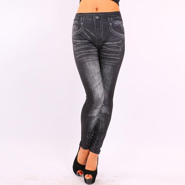 2017 Women Leggings Jeans Denim Pants Pocket Black/Blue Slim Women Leggings Faux Denim Jeans Pencil Pants Women Clothing