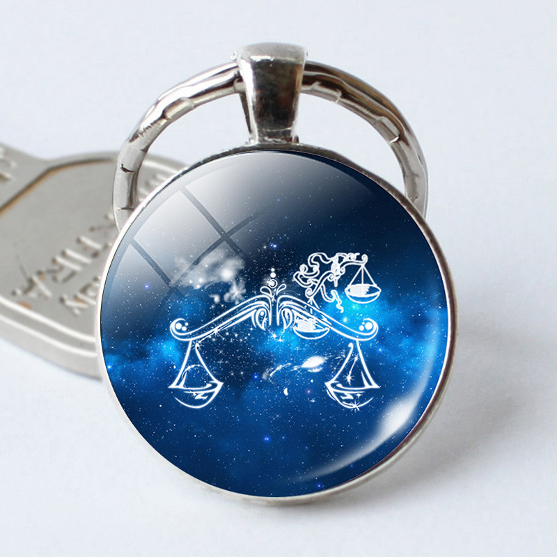 12 Constellation Leo Virgo Glass Cabochon Pendant Sign Zodiac Keyrings Keychains Silver Plated Bag Pendant gift