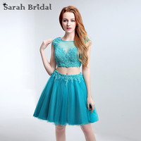 Sexy Two Pieces Teal Short Homecoming Dresses 2017 New Fashion Tulle Party Gowns with Appliques LX187