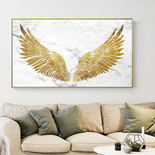 Modern Nordic Posters Style Holy Golden Wings Canvas Painting Wall Art Pictures Unique Home Decor Rectangle Pictures For Studios(China)