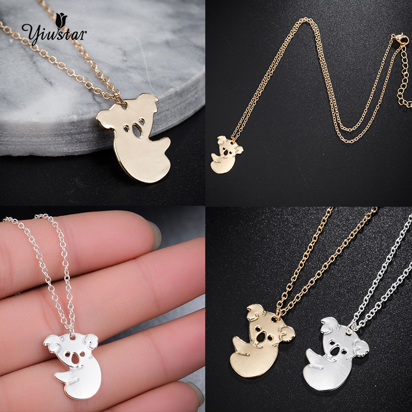 Yiustar 1pc Sweet Charming <font><b>Koala</b></font> Necklace Australian <font><b>Koala</b></font> <font><b>Bear</b></font> Hollow Necklaces Pendants Animal For Women <font><b>Jewelry</b></font> collier femme image