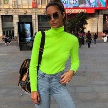 ZHYMIHRET 2018 Otoño e Invierno de Color neón Ribbed T camisa mujeres Camiseta de manga larga Camiseta de cuello alto moda de punto Tops camiseta Mujer