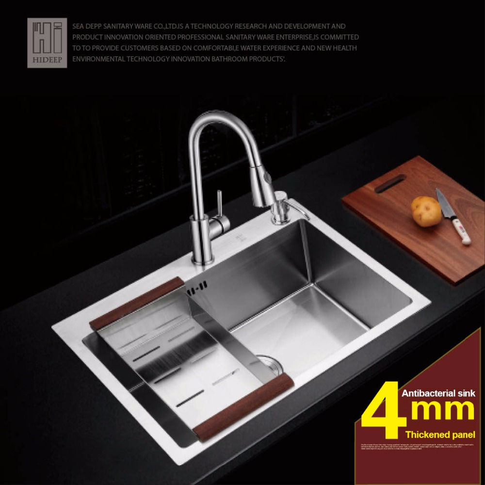 HIDEEP Sink Thickening 304 Stainless Steel With A Kitchen Faucet Washing Basin Bowl Size Double Trough цена