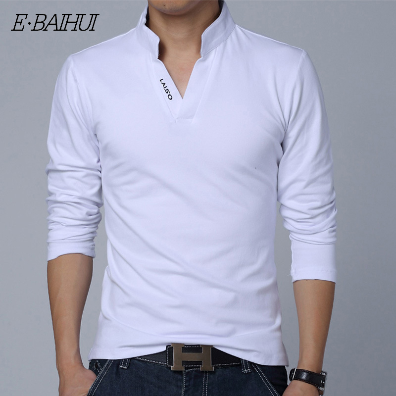 E-BAIHUI New fashion   polo   Men Solid Cotton   POLO   Long Sleeve Muscle Slim Fit V Neck Letter LAISO Print Srping Autumn Top Tee G006