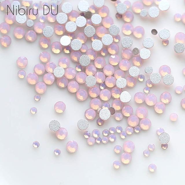 450 pcs/Pack Mix Size Pink Opal Crystal Nail Art Rhinestones For 3d Charm Glass Flatback Non Hotfix DIY Nails Decorations