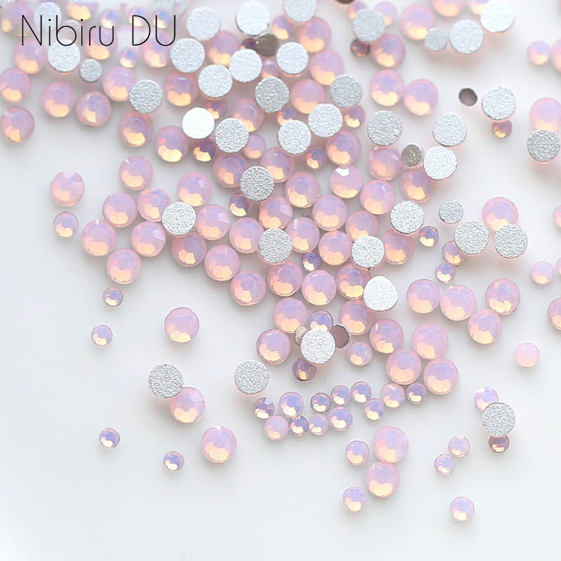 450 unidades/pacote mix tamanho rosa opala cristal arte do prego strass para 3d charme flatback vidro não hotfix diy unhas decorações