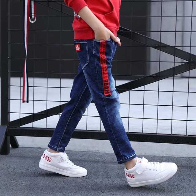 New 2018 Warm Kids Spring Autumn Cotton Jeans Baby Boys Casual Mid Denim Pants Toddler Children Boys Clothes Quality Trousers