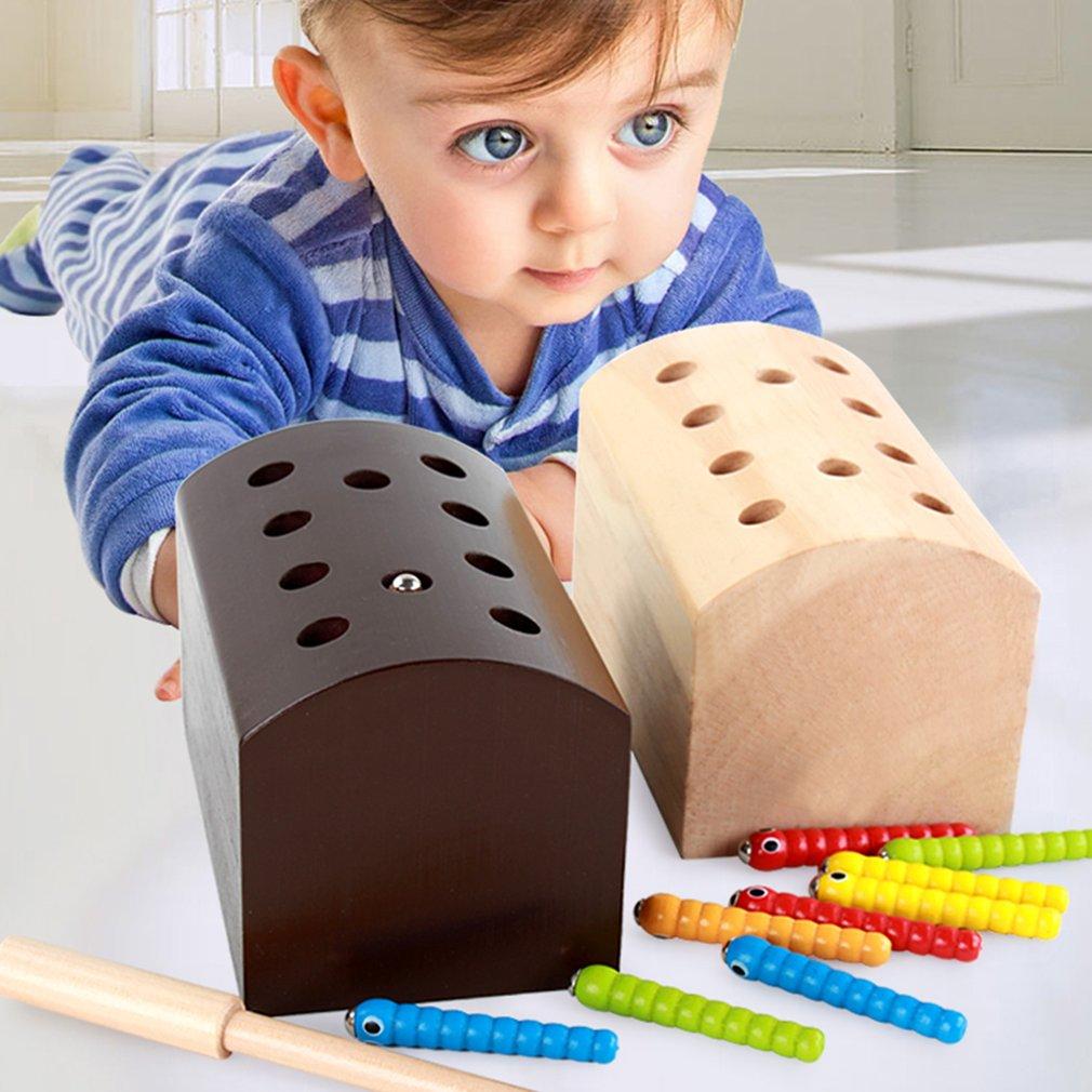 ¡Caliente! Los insectos básicos de desarrollo educativo de madera magnético atrapar insectos juego juguetes educativos para los niños