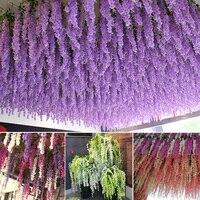 12 PCS Wedding Decoration Garland Silk Artificial Flower Wisteria Vines simulation Rattan Party Home Garden Hotel Deco