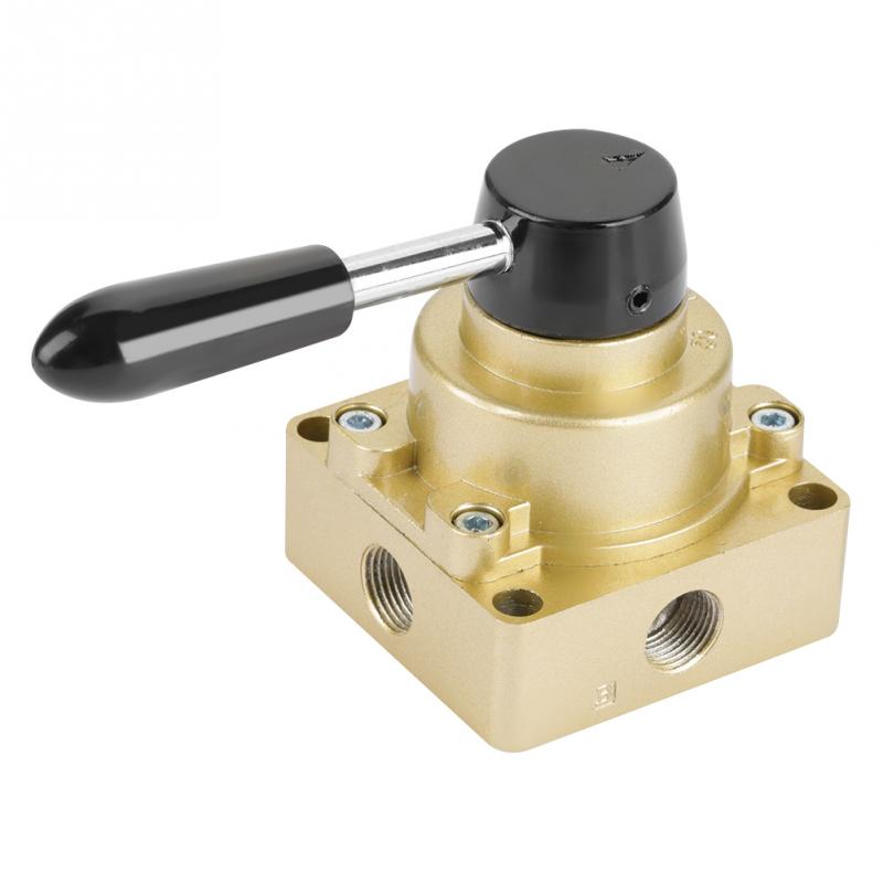 US $11 36 37% OFF 3 Positions 4 Ways Pneumatic Valve HV 03 G3/8 Air Flow  Control Hand Lever Valve valvula solenoide New Arrival-in Valve from Home