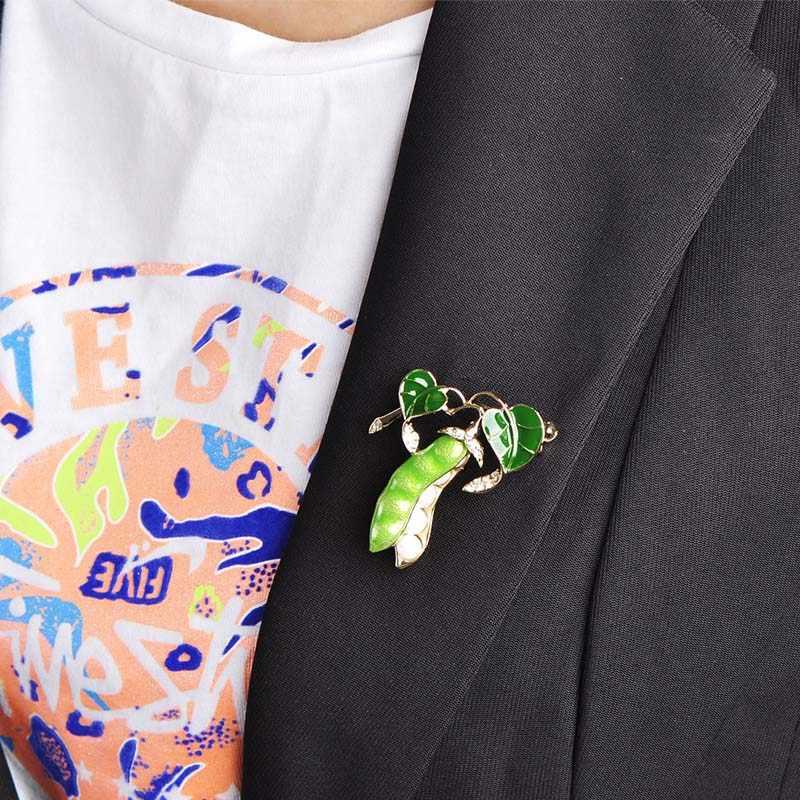 Blucome Enamel Kacang Hijau Bros untuk Wanita Warna Emas Kristal Simulasi Mutiara Korsase Pria Kids Sweater Suit Aksesoris Pin