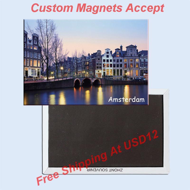 Турнирни магнети 78 * 54мм Амстердам Сцене Метал Враппед Магнети за сувенири 20060 Туристичка сувенирница Гифт