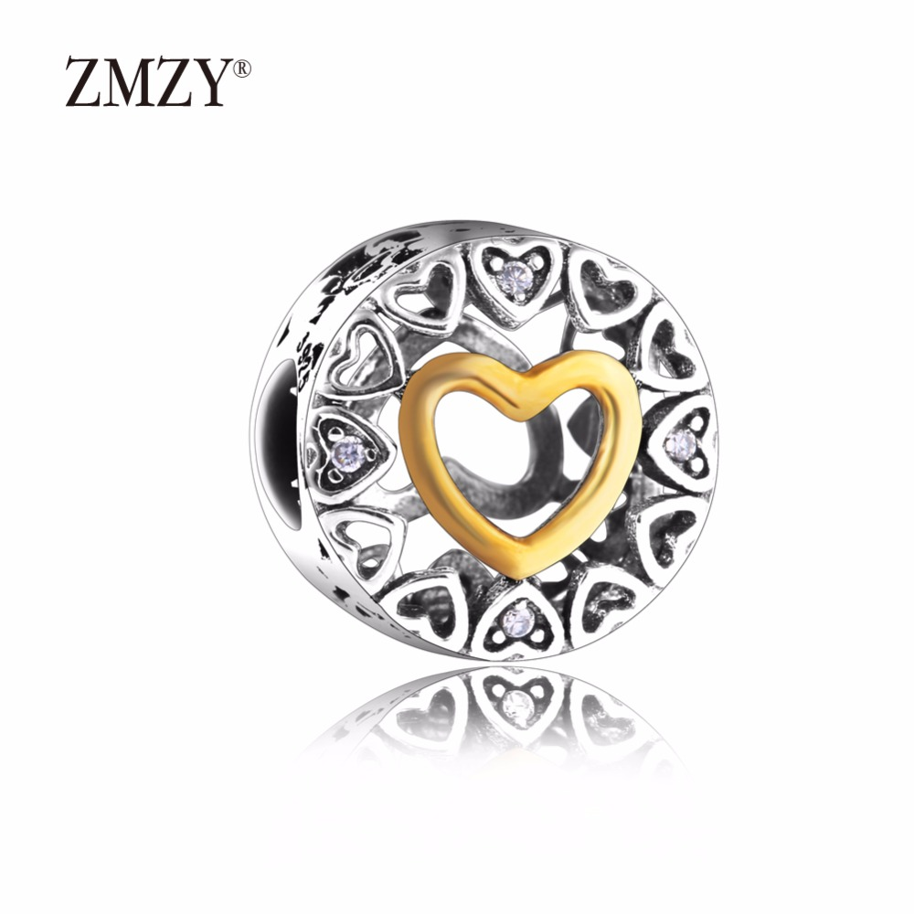 ZMZY Authentic 925 Sterling Silver Charms Loving Circle with Clear CZ Beads Fits Pandora Charm Bracelet Jewelry Making