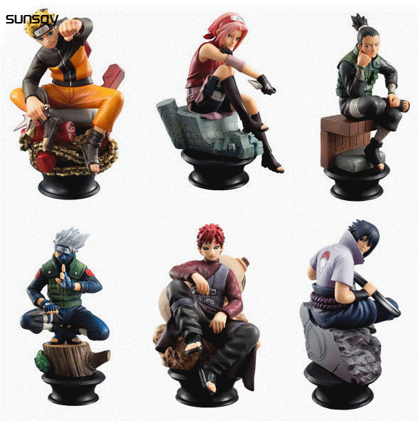 6pcs Lot Naruto 8cm Chess Action Figure New Sasuke Ninja Model Toy
