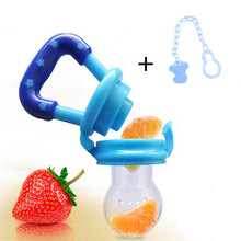 1pcs Baby Pacifier And Chain Food Feeder Silicone Fresh Fruit Milk Nibbler Feeder Kids Nipple Feeding Safe Nipple Teether Bottle