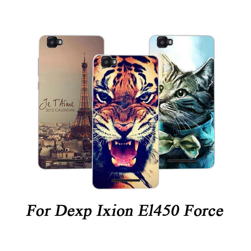 Lembut TPU Ponsel Case untuk Dexp Ixion El450 Kekuatan Kasus Dicat Serigala Kucing Rose Fundas Tipis untuk Dexp Ixion El450 kekuatan Penutup Belakang