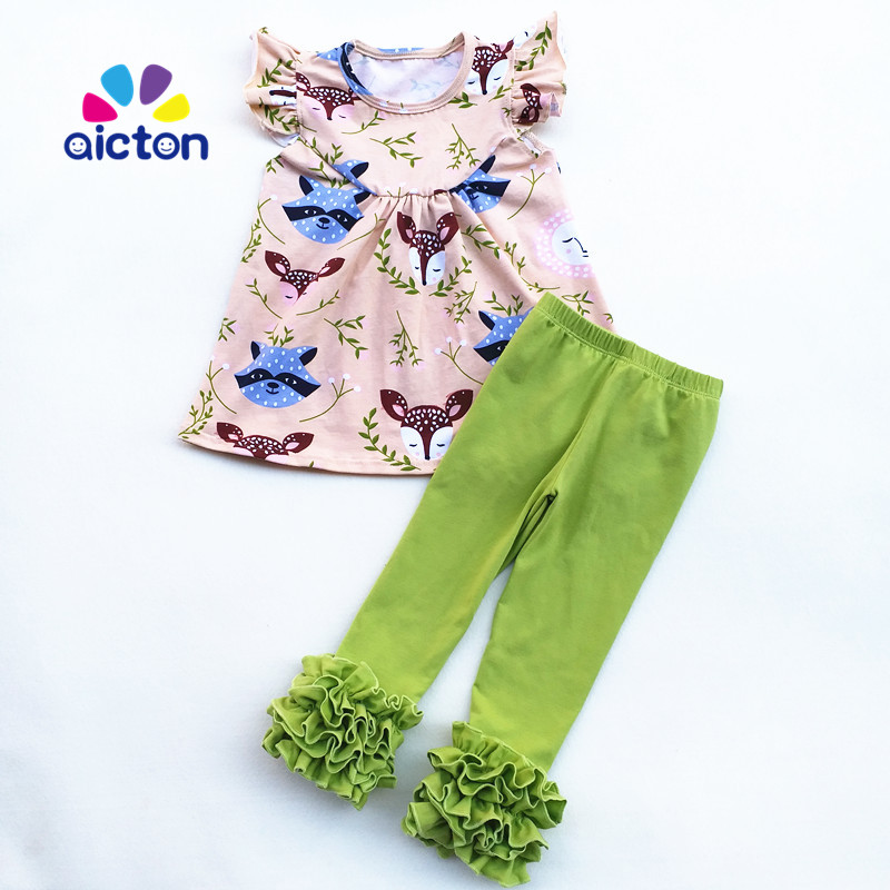 New design kids frock fox printed  baby girls Fall outfits with fox pearl top and solid ruffle pants frank buytendijk dealing with dilemmas where business analytics fall short
