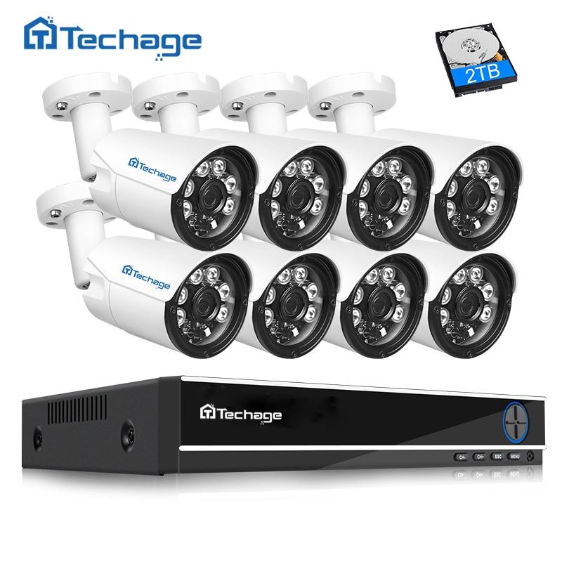 Techage 4MP CCTV Camera System 8CH AHD DVR Kit 8PCS 4.0MP HD Indoor Outdoor Security Camera P2P Video Surveillance System Set