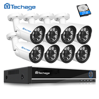 Techage 4mp HD CCTV System 8CH AHD DVR 8PCS 4 0mp 2560 1440 Security Camera Outdoor